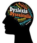 Brain icon with dyslexia